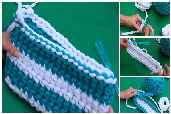 Como hacer un bolso rectangular de trapillo pasa a paso