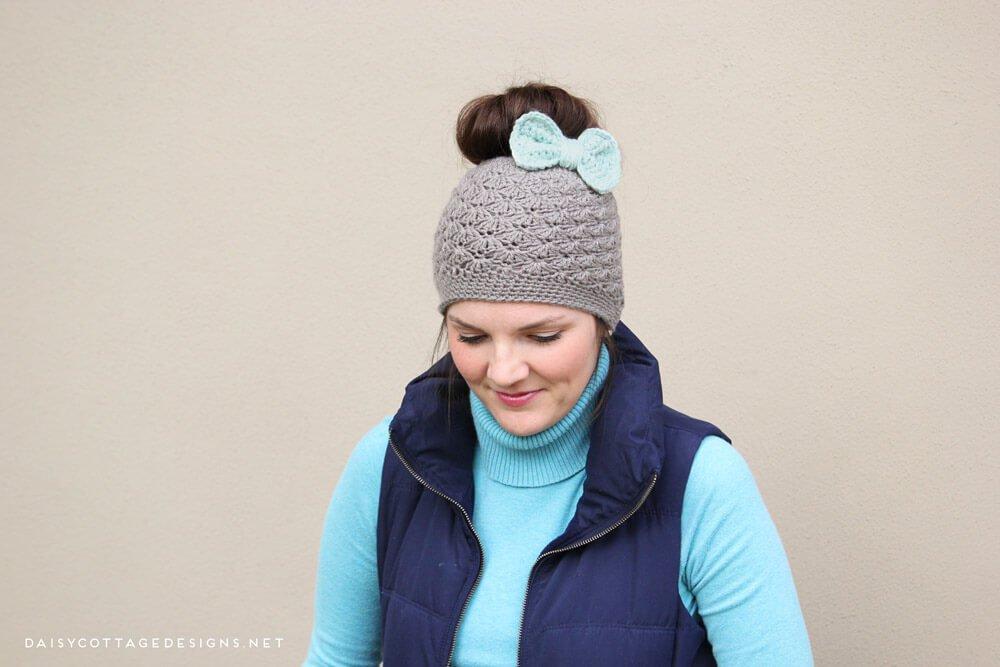 Como hacer un gorro con moño tejido a crochet