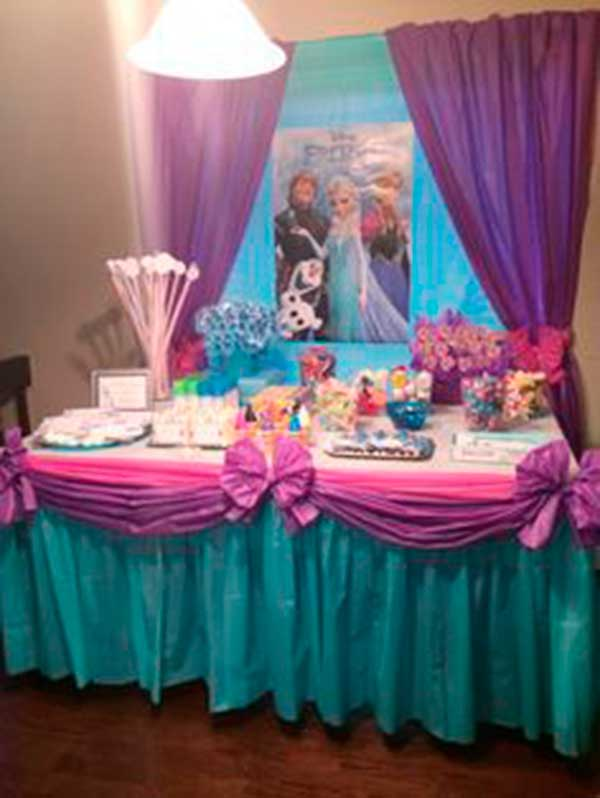 Como decorar mesa de dulces de frozen for Decoracion mesas dulces