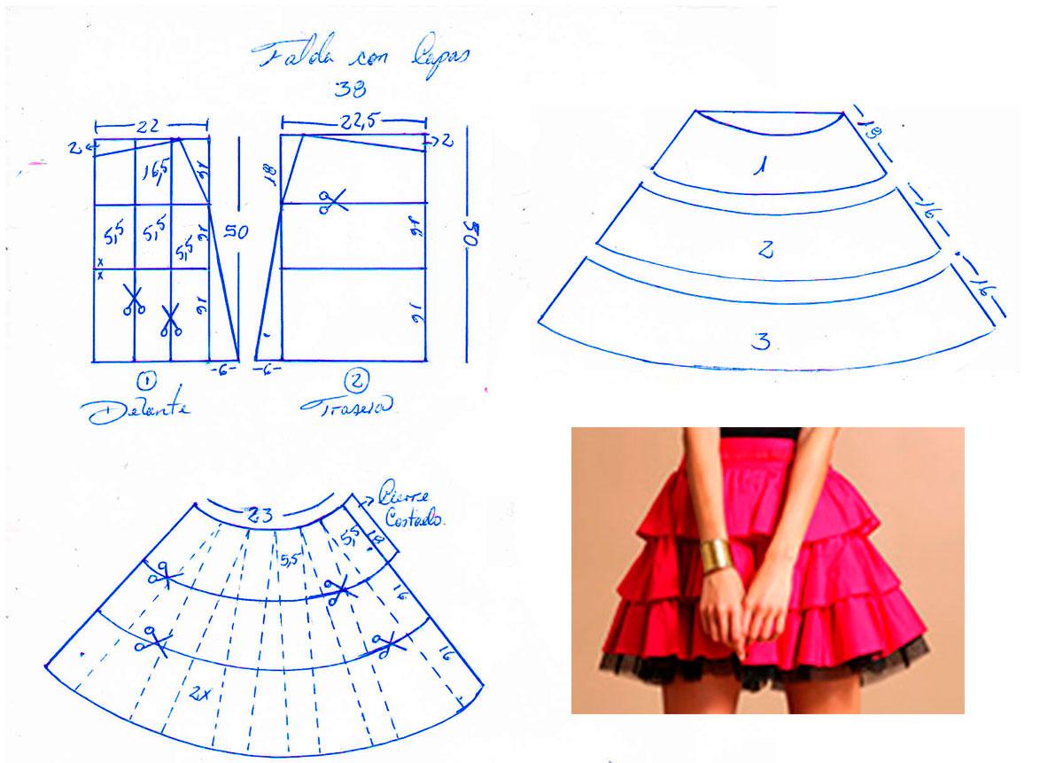 Faldas juveniles en capas patrones