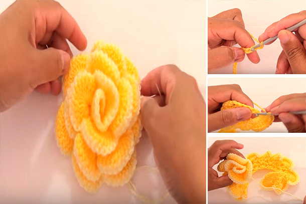Como hacer rosas tejidas a crochet video tutorial