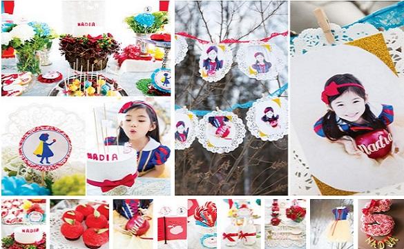 Cumpleaños tematico de blancanieves para niñas de 5 a 10 años