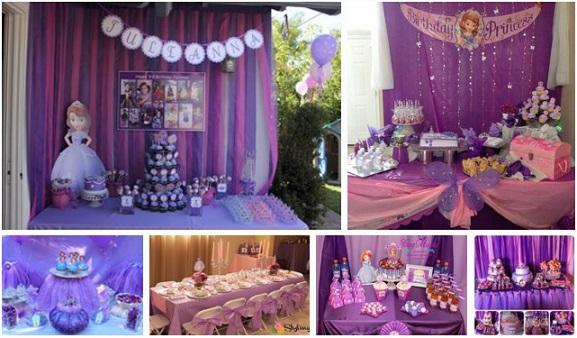 como decorar una mesa de dulces de princesita sofia