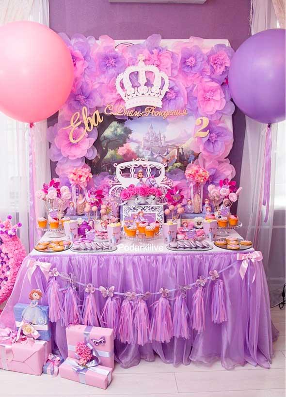 decoraciones de globos para fiestas de la princesa sofia
