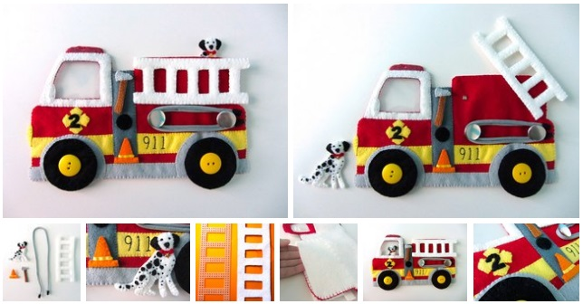 Camion de bomberos y un dalmata de fieltro09