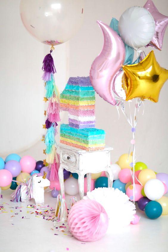 Decoraci n de fiesta de cumplea os de unicornio for Diseno de mesa de unicornio