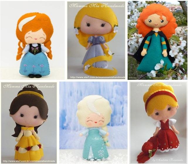 Muñecas de Princesas en fieltro
