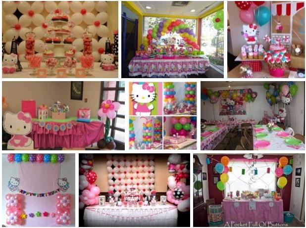 Mesas decoradas con globos para fiestas tematica hello kitty