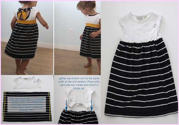 967e698df Como hacer un vestido para niña con 2 playeras recicladas